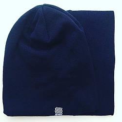 Комплект шапка и горловик темно-синий 222-32