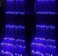 """Гирлянда-штора электрическая на 280 Led больших матовых светодиодов """"Водопад"""" синяя 3*2 м"""
