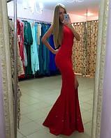 Платье в пол с углубленным вырезом на спинке и разрезом, фото 1