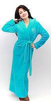 Длинный махровый банный халат для милых дам, халат с капюшоном. материал Velsoft-махра. Опт, розница. Украина.