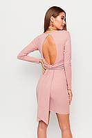 Короткое клубное розовое платье с вырезом на спине, фото 1