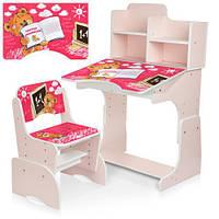 """Детская регулируемая парта со стульчиком """"Мишка"""" B 2071-83-2 розовая"""