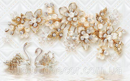 Фотообои Золотые брошки и лебеди разные текстуры , индивидуальный размер