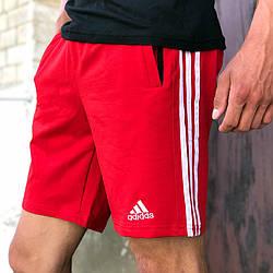 Шорти трикотажні у стилі Adidas Three line червоні
