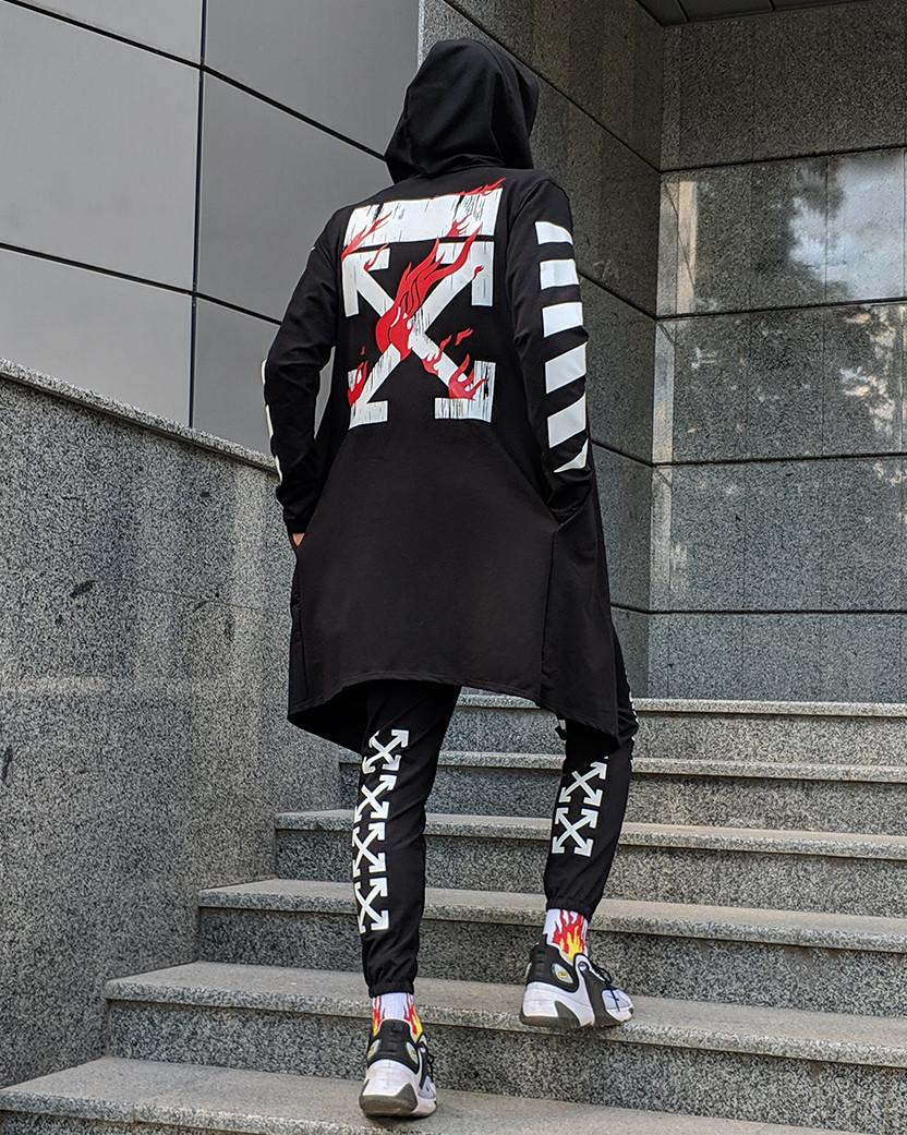 Комплект в стиле Off White c мантией черный (штаны, мантия, маска, футболка)