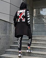 Комплект в стилі Off White c мантією чорний (штани, мантія, маска, футболка)