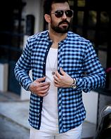 Мужская кашемировая приталенная рубашка с воротником-стойкой