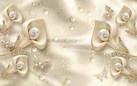 3Д Фотообои Золотые цветы капли разные текстуры , индивидуальный размер