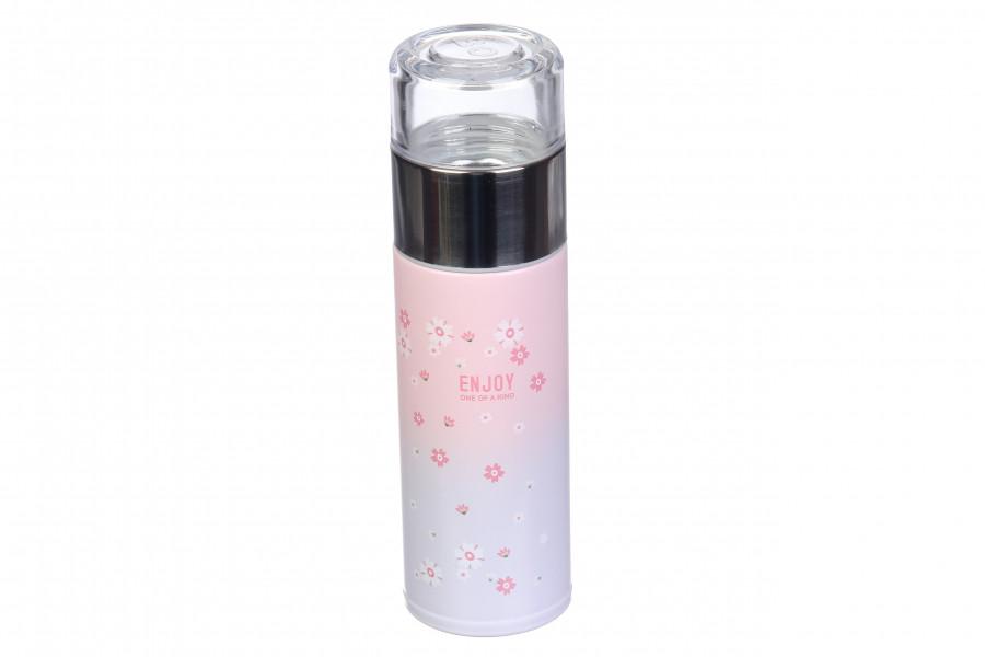 Термос ENJOY с ситечком-заварником 230 мл бирюзовый/розовый