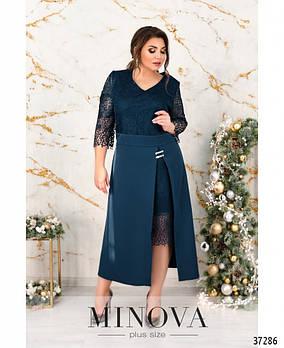 Романтичное платье батал с ажурным кружевом на лифе и гладким подолом с 52 по 58 размер