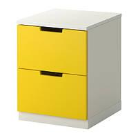 NORDLI Комод с 2 ящиками, желтый, белый
