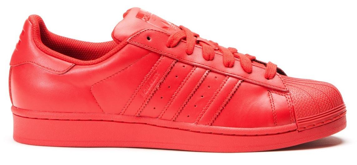 Женские кроссовки Adidas Superstar Pharrell Williams красного цвета