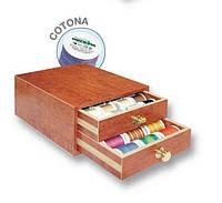 8114 Cotona маленькая шкатулка(24xCotona 200м,10xCotona 400м мульти,3xBobbinfil 1500м,2xMonofil 1000