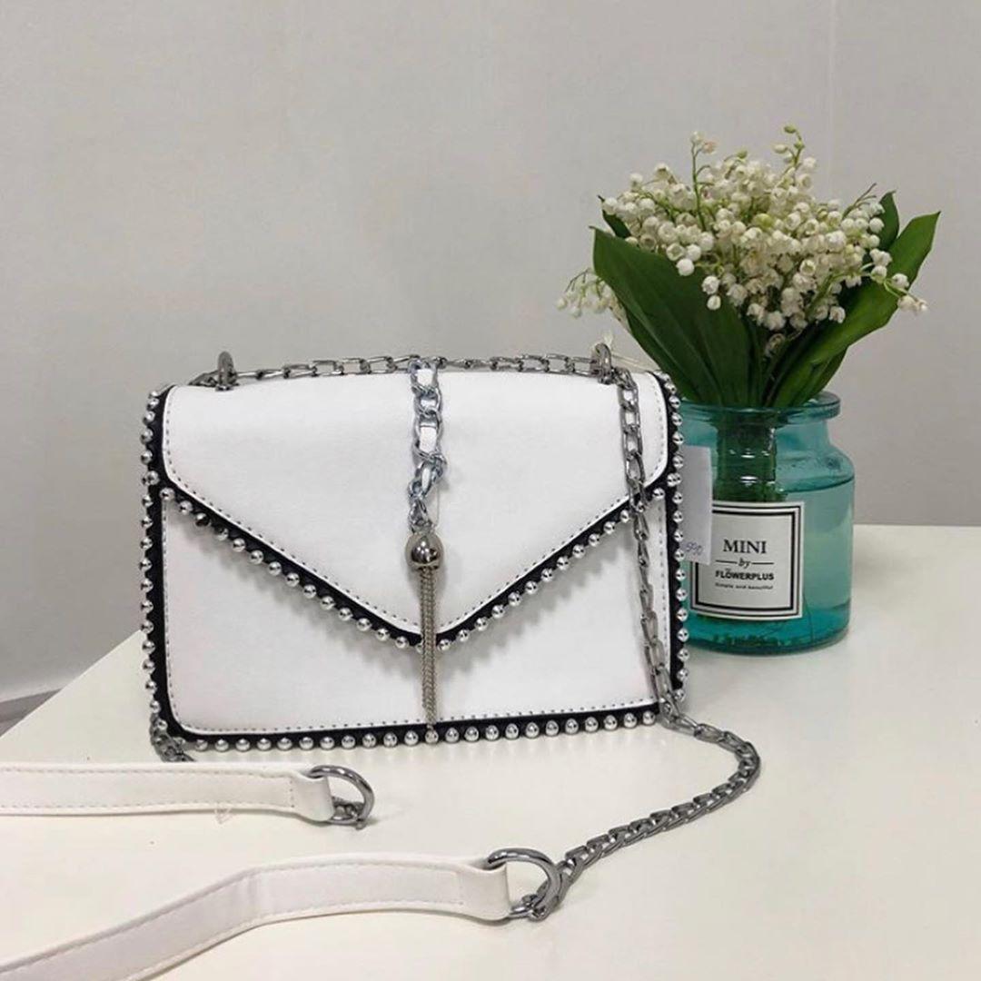 Модная сумка украшена бусинами по контуру #0286 Белый