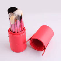 Кисточки кисти для макияжа 12 штук в тубусе черные, фиолетовые, голубые, коралловые, реплика, фото 2