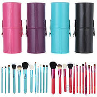 Кисти для макияжа 12 штук в тубусе черные, фиолетовые, бирюзовые, розовые