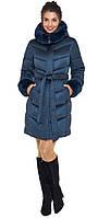 Воздуховик женский с поясом и с натуральной опушкой на капюшоне Braggart Angel's Fluff - 31068 синий