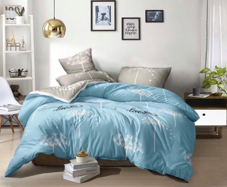 Двуспальный комплект постельного белья бязь «Одуванчики на бирюзовом»