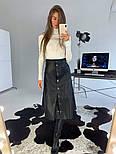 Женская юбка-миди на кнопках из эко-кожи на замше, фото 6