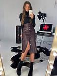 Женская юбка-миди на кнопках из эко-кожи на замше, фото 5