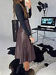 Женская юбка-миди на кнопках из эко-кожи на замше, фото 4