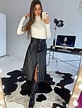 Женская юбка-миди на кнопках из эко-кожи на замше, фото 8