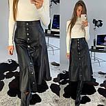 Женская юбка-миди на кнопках из эко-кожи на замше, фото 10