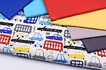 """Бязь польская """"Сине-красные автобусы и машины"""" на белом фоне (2413), фото 5"""