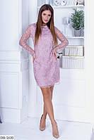 Стильное приталенное красивое платье  с расшитым кружевом арт 770