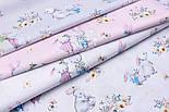"""Бязь польская """"Кролики с морковкой и книжкой"""" на розовом фоне (2394), фото 2"""