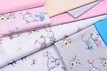 """Бязь польская """"Кролики с морковкой и книжкой"""" на розовом фоне (2394), фото 7"""