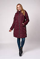 Зимняя женская бордовая куртка плащевка размеры 42,44,46,48