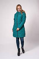 Яркая изумрудная длинная куртка на зиму 42,44,46,48
