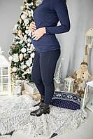 630203 Теплые лосины для беременных с начесом Синие M, фото 1