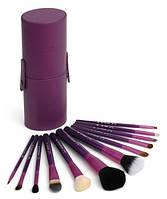 Набор кистей для макияжа 12 шт в тубусе кисточки Фиолетовые
