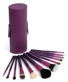 Набір кистей для макіяжу 12 шт в тубусі пензлика Фіолетові репліка