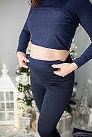 630203 Теплые лосины для беременных с начесом Синие XXL, фото 1