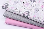 """Бязь польская """"Мишки с розовой косынкой, лисички и зайчики"""" фон белый №2546а, фото 6"""
