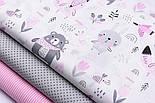 """Бязь польская """"Мишки с розовой косынкой, лисички и зайчики"""" фон белый №2546а, фото 2"""