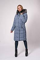 Зимнее пальто больших размеров серо-голубое 46,48,50,52
