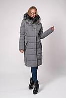Зимнее женское пальто-куртка серого цвета 46,48,50,52