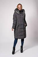Темно-серое женское стеганное пальто с мехом 46,48,50,52