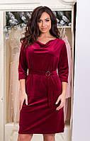 Оксамитове плаття напівприлягаючого силуету, горловина-хомут падає м'якими складами, з поясом 5 кольорів, фото 1