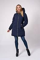 Зимняя модная куртка парка прямого кроя темно-синяя 42,44