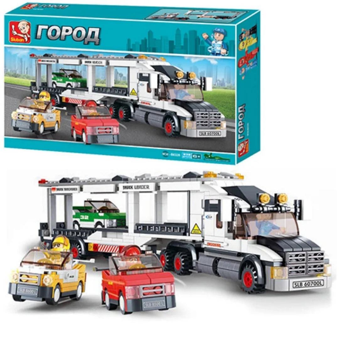Конструктор из серии Город (City) трейлер перевозчик машин, фигурки, машины, 537 деталей, SLUBAN M38-B0339