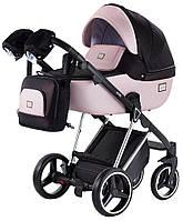 Дитяча Коляска 2 в 1 Adamex Mimi Polar Y839-A чорний (люрикс) - рожевий (пудра) шкіра, фото 1