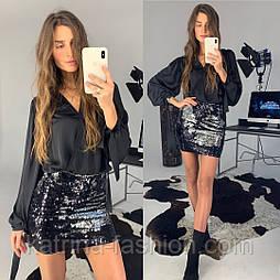 Женская юбка-мини с пайетками и отдельно блуза (в расцветках)