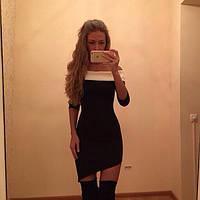 Платье ассиметричное короткое подчеркивающее плечи, фото 1