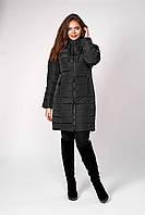 Черная женская приталенная куртка батальных размеров 50,52,54,56