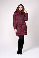 Красивая зимняя бордовая куртка с капюшоном 50,52,54,56